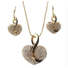 Yellow Gold Plated Heart Clear Crystal Necklace Earring Chain Jewelry Sets J2R2