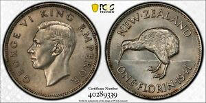 New Zealand 1941 Florin Kiwi bird animal PCGS MS62 PC1133 combine shipping