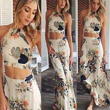 New Womens Floral Long Maxi Dress Sleeveless Evening Party Summer Beach Sundress