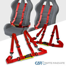 Racing Buckle Seat Belt 4 Point Harness Red Pair
