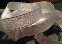 10mm SPARKLY SILVER METALLIC CHRISTMAS RIBBON FULL ROLL 5m