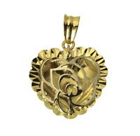 14K Real 2 Tone Yellow White Gold Flower Rose Heart Diamond Cut Charm Pendant
