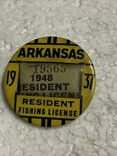 1937 Antique Arkansas Resident Fishing License Holder W/ 1948 License Celluloid