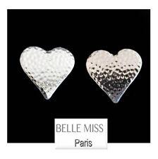 Luxus Ohrclips Ohrringe  Belle Miss Paris Metall Versilbert  Herz 25 mm X25 mm