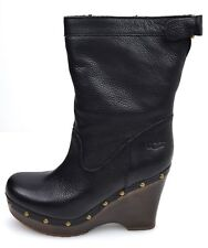 UGG® AUSTRALIA CARNAGIE BLACK LEATHER CLOG BOOTS UK 4.5 EUR 37 USA 6  RRP £245