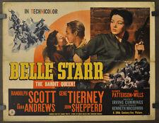 BELLE STARR 1941 ORIG 22X28 MOVIE POSTER RANDOLF SCOTT GENE TIERNY DANA ANDREWS