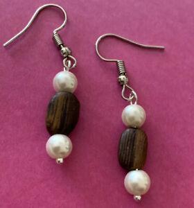 Brighton Zen Garden Brown Wooden Pearl Beads Excellent Custom Silver Earrings