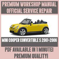 *WORKSHOP MANUAL SERVICE & REPAIR GUIDE for MINI COOPER CONVERTIBLE S 2001-2006