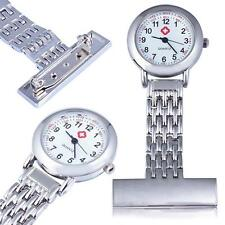 Mini Lady Fashion Stainless Steel Nurse Watch Silver Quartz Fob Pocket Brooch NY