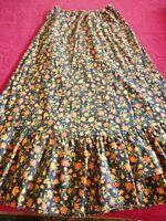 "Vintage 1970's Maxi Skirt Black & Orange Floral Hippie Boho Waist 32""-42"" Long"