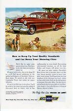 1950s Vintage print ad Car Chevrolet Styleline Deluxe Regal Maroon Beach play ad