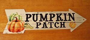 Rustic Country Primitive Pumpkin Patch Farm Arrow Sign Halloween Home Decor NEW