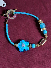 Light Blue Beaded Flower Bracelet