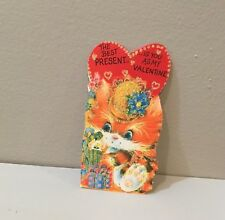 """Vtg Valentine Card Calico Kitty Cat Hat Gifts """"Best Present Is You"""" Unused"""