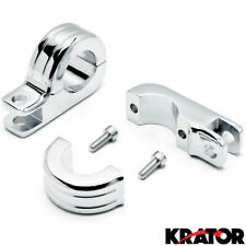 "Chrome 1-1/4"" Engine Guard Tube Bar Footpeg Clamps for Harley Davidsons / Metric"