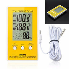 Digital LCD Indoor Outdoor Humidity Hygrometer Thermometer Probe Meter Cable C/F