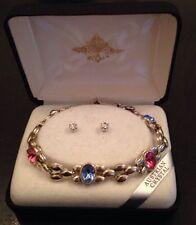 Austrian Crystal Bracelet & Pierced Stud Earrings Set Original Box Vintage