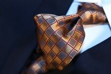 ERMENEGILDO ZEGNA  Rustic Gold with Brown and Burgundy Geometric Tie