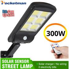 Solar 300W LED Street Light COB Sensor Remote Control Waterproof Wall Road Lamp