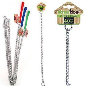 40cm / 50cm / 1.2m Metal Steel Dog Pet Choker Chain Collar & Lead Chrome Choke