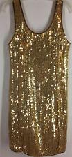 Women's Dress LIFE STYLE Gold Sequin Mini Sleeveless Scoop Short VINTAGE MEDIUM