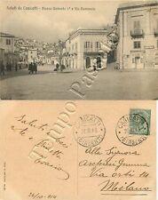 Cartolina saluti da Canicattì, piazza Umberto I - Agrigento, 1913