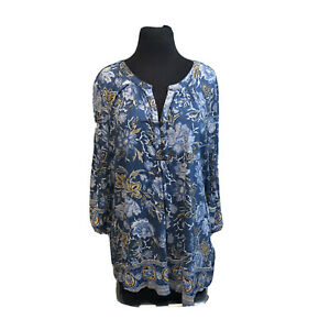 Lucky Brand Blue Knit floral top Popover Boho blouse womens Plus Sz 2X shirt