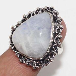 Rainbow Moonstone 925 Silver Plated Handmade Gemstone Ring us 8 Unique Gift GW