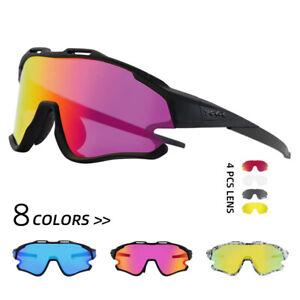 UV400 Sports Riding Cycling Glasses Bicycle Eyewear 4 Lens Sunglasses Polarized