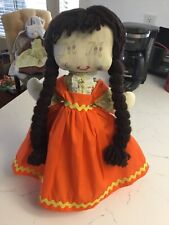 Vintage 20� Rag Doll With Hand Made Clothes
