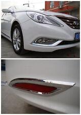 Chrome Front And Rear Fog Light Lamp Cover Trim For Hyundai Sonata MK8 2011 2012