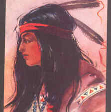 """""""STARLIGHT"""" LOVELY INDIAN MAIDEN,BEADS,CROSS JEWELRY,PETERSON,1908 OLD POSTCARD"""