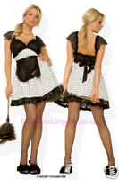 French Maid Fancy Dress Costume Ladies Outfit Sexy Waitress Hen Rocky s/m m/l