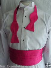 HOT PINK Self-tie Bow Tie & Cummerbund Set + Clear Instruction-P&P 2UK>1st Class