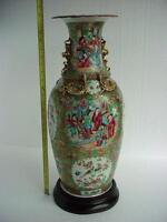 HUGE! 19th Century   CHINESE  CANTON Famille Verte VASE. Wonderful colors!