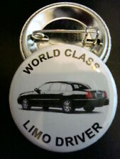 """#1 LIMO DRIVER Black TownCar 1-1/4"""" Pinback Buttons NEW"""