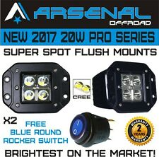 2 x 20W Spot LED Flush Mount Work Light Driving Cube Pods Offroad SUV 4WD Jeep