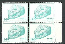 ARCHAEOLOGY: HEAD OF PUMA, ART OF PALLASCA ON PERU 1981 Scott 748 BLOCK x4, MNH
