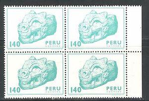 PERU 1981, ARCHAEOLOGY: HEAD OF PUMA, ART OF PALLASCA, Scott 748 BLOCK x4, MNH