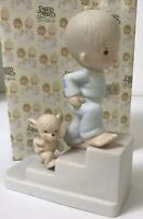 Precious Moments Boy & Dog Marching Upstairs  E-5203 Figurine RETIRED