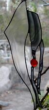 MIDNIGHT DREAM Imported Baroque Black & Clear Stained Glass + Silver SUNCATCHER