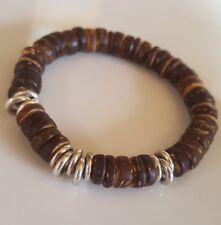 Brown coconut beads & Links Of London sweetie silver rings, Bracelet NEW
