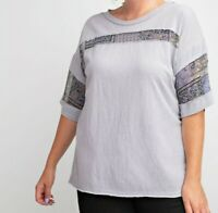 New Easel Top 1X Gray Blue Floral Patchwork T Shirt Relaxed Fit Plus Size