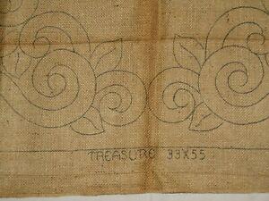 "Vintage Heirloom Hooked Rug Pattern ""TREASURE"" BURLAP  - 33''x55''"