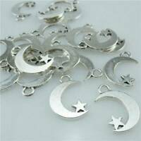 20pcs Moon&Star Charms Alloy Metal Crescent Pendant Connector DIY Jewelry Making