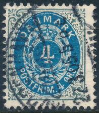 Denmark Scott 42b/Afa 23C, 4ø gray/blue Bicolour, wmk Crown Iii, F+ used