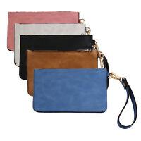 Retro Women PU Leather Messenger Wristlet Clutch Pouch Bag Purse Zip Wallet B2