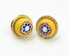 & White on Gold Plated Findings Murano Glass Earrings - Yellow, Red, Navy