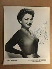 Anne Baxter Early Vintage Original Autographed 8/10 Photo 1953