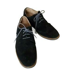 Joseph Abboud Black/ Blue Suede Men's Lace Up Wingtip Oxford Dress Shoes Sz 10